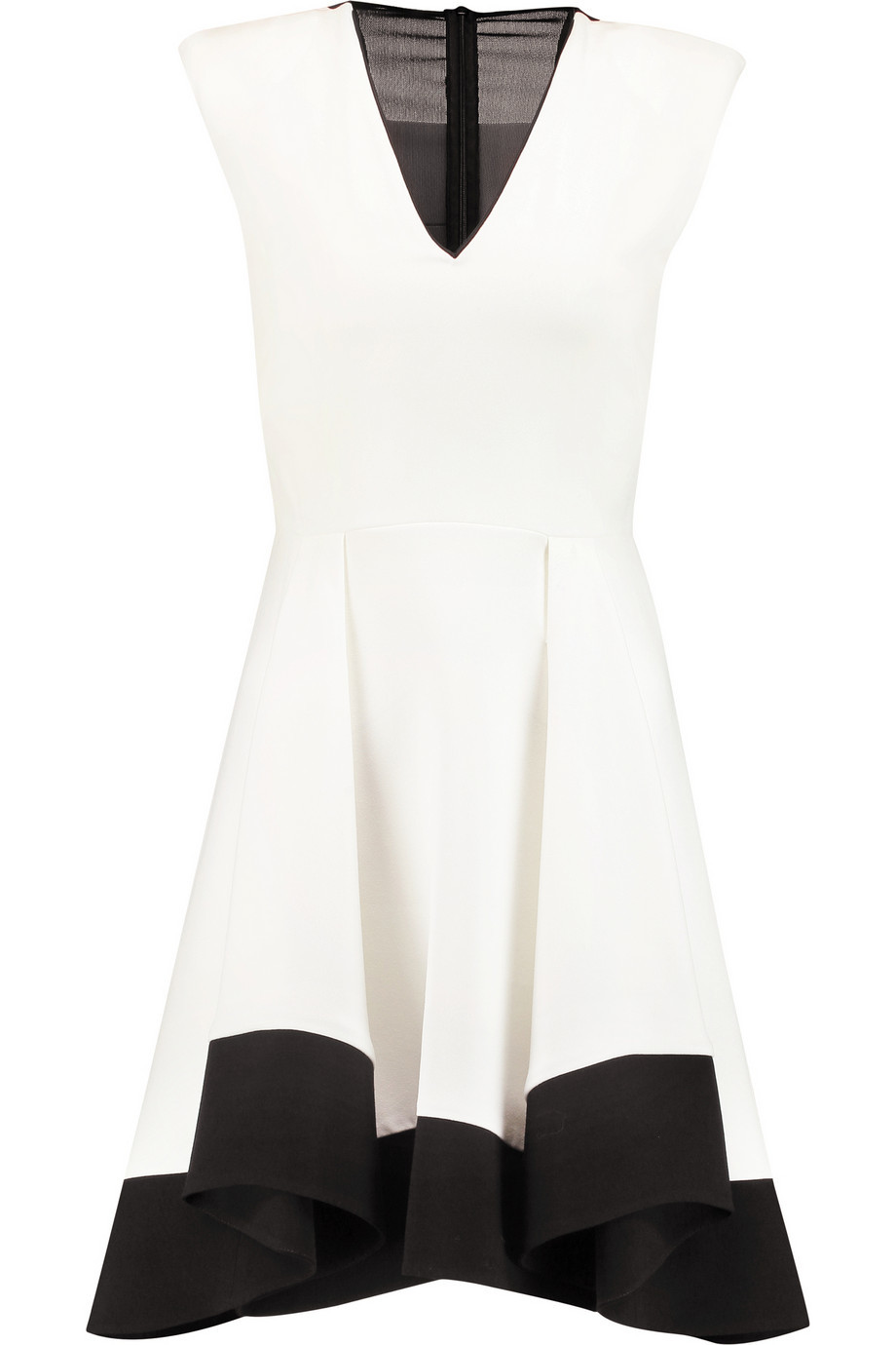 Two Tone Mesh Paneled Crepe Dress Ecru - length: mid thigh; neckline: v-neck; sleeve style: capped; predominant colour: ivory/cream; secondary colour: black; occasions: evening; fit: fitted at waist & bust; style: fit & flare; sleeve length: sleeveless; pattern type: fabric; pattern size: standard; pattern: colourblock; texture group: woven light midweight; fibres: viscose/rayon - mix; season: s/s 2016; wardrobe: event