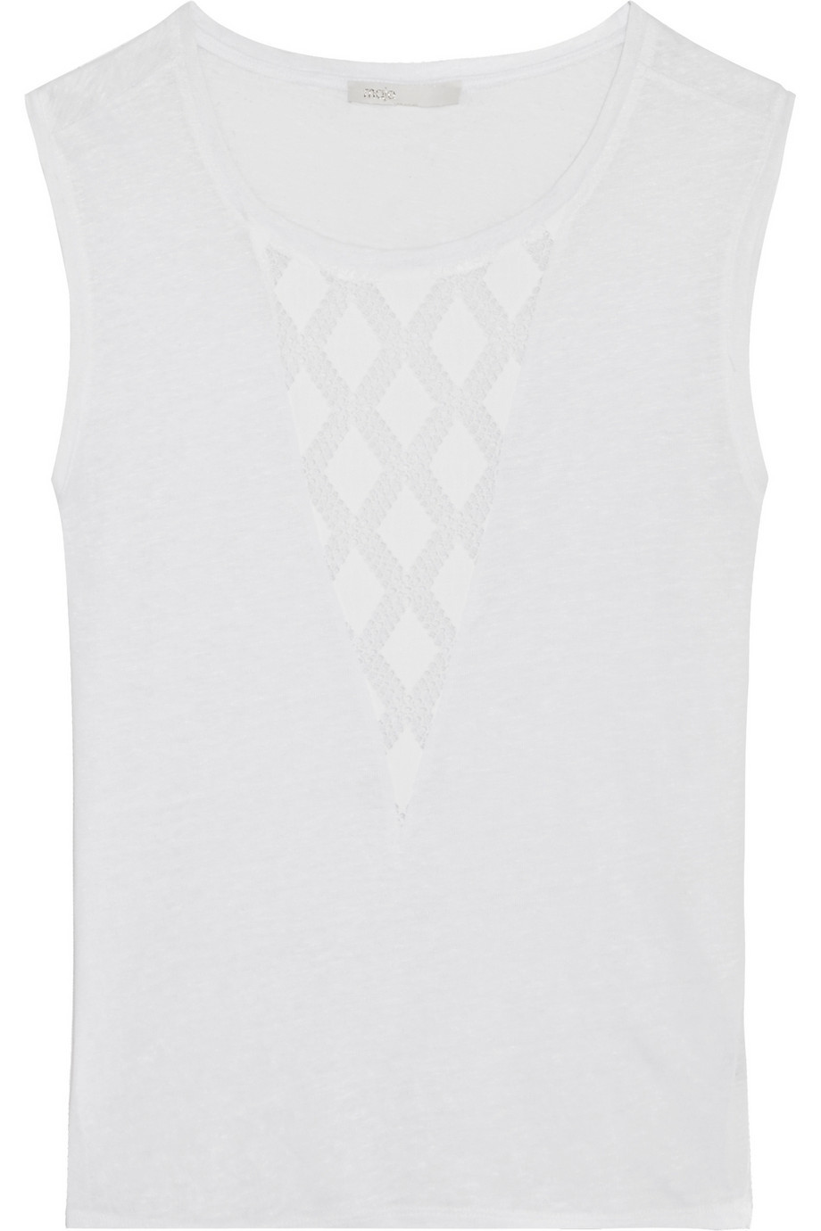 Tao Embroidered Georgette Paneled Linen Top White - neckline: round neck; sleeve style: sleeveless; predominant colour: white; occasions: casual; length: standard; style: top; fibres: linen - 100%; fit: body skimming; sleeve length: sleeveless; texture group: linen; pattern type: fabric; pattern: patterned/print; season: s/s 2016; wardrobe: highlight