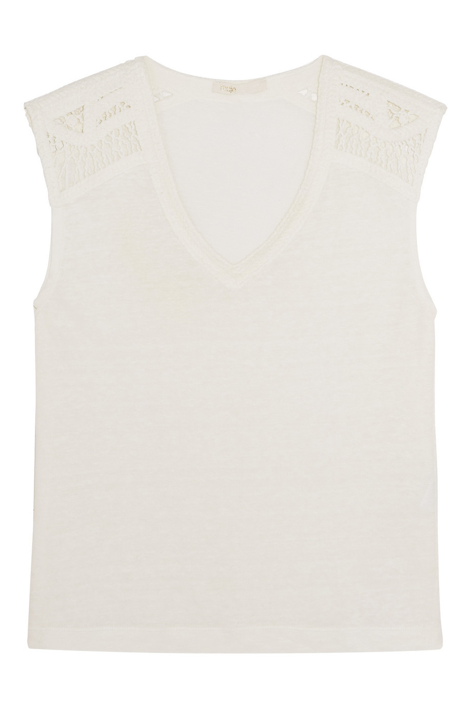 Taz Linen And Cotton Blend Top Ecru - neckline: v-neck; pattern: plain; sleeve style: sleeveless; length: below the bottom; predominant colour: white; occasions: casual; style: top; fibres: linen - mix; fit: body skimming; sleeve length: sleeveless; texture group: linen; pattern type: fabric; season: s/s 2016