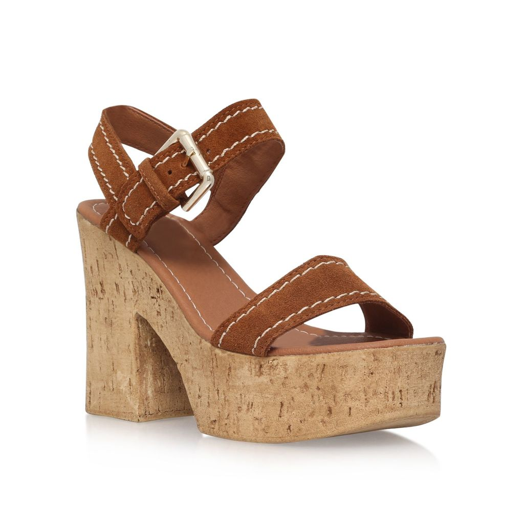 Kandid High Heel Sandals, Tan - predominant colour: tan; occasions: casual; material: suede; heel height: high; heel: standard; toe: open toe/peeptoe; style: standard; finish: plain; pattern: plain; shoe detail: platform; season: s/s 2016; wardrobe: highlight