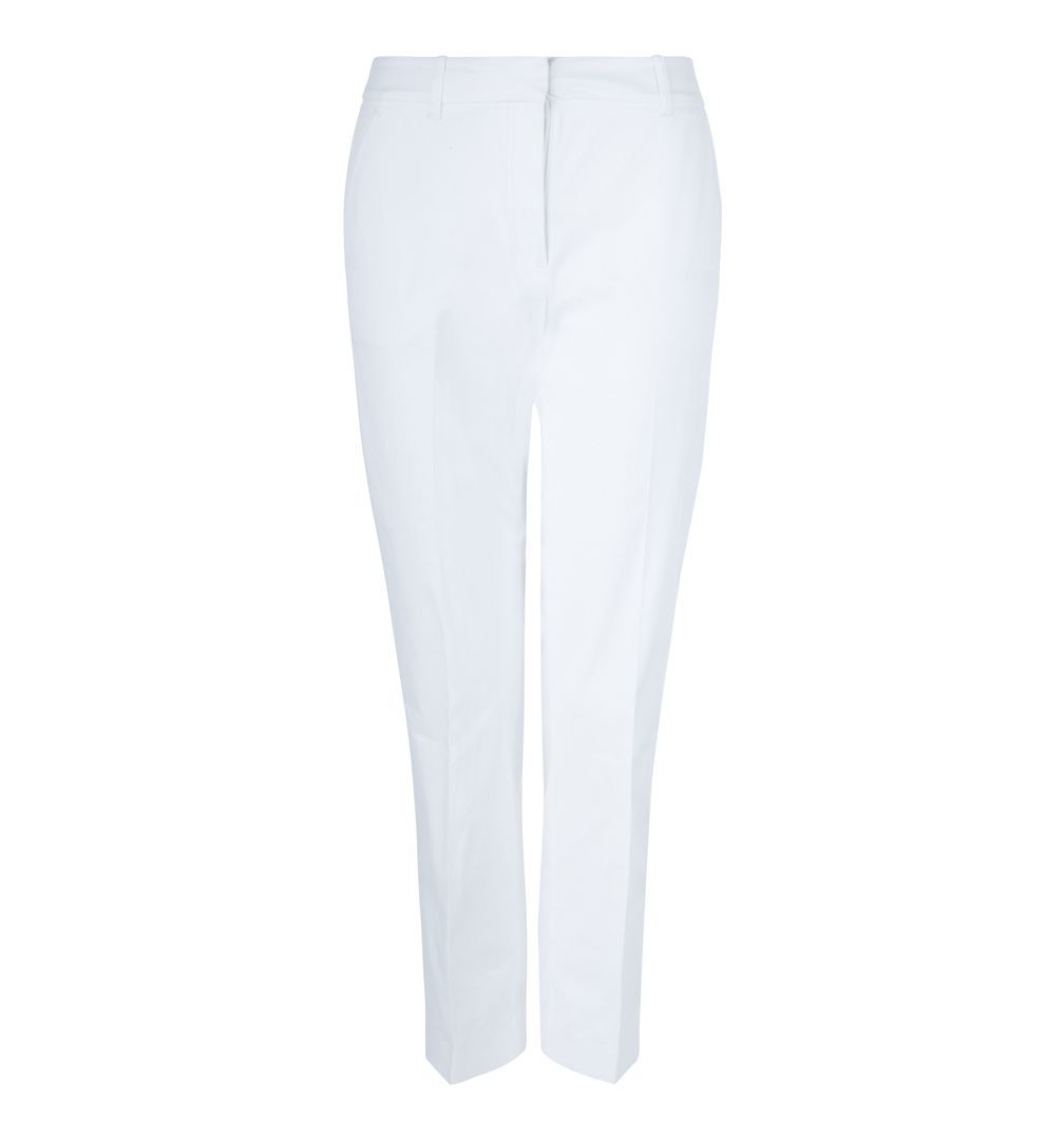 Ava Trousers, White - pattern: plain; waist: mid/regular rise; predominant colour: white; length: ankle length; fibres: cotton - stretch; texture group: cotton feel fabrics; fit: slim leg; pattern type: fabric; style: standard; occasions: creative work; season: s/s 2016; wardrobe: basic