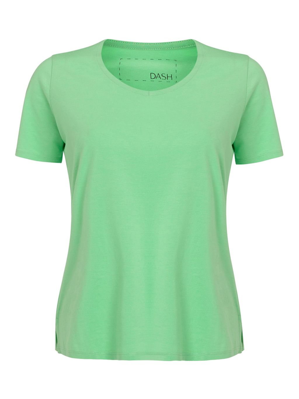 Apple Cotton Modal Top, Green - pattern: plain; style: t-shirt; predominant colour: lime; occasions: casual; length: standard; fibres: cotton - 100%; fit: body skimming; neckline: crew; sleeve length: short sleeve; sleeve style: standard; pattern type: fabric; texture group: jersey - stretchy/drapey; season: s/s 2016; wardrobe: highlight