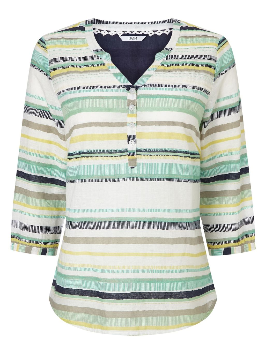 Multi Stripe Print Blouse, Multi Coloured - neckline: v-neck; pattern: horizontal stripes; predominant colour: ivory/cream; secondary colour: pistachio; occasions: casual; length: standard; style: top; fibres: cotton - stretch; fit: body skimming; sleeve length: 3/4 length; sleeve style: standard; pattern type: fabric; pattern size: light/subtle; texture group: woven light midweight; multicoloured: multicoloured; season: s/s 2016