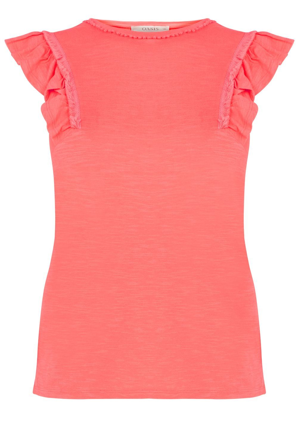 Ruffle Slub Shell, Coral - sleeve style: angel/waterfall; pattern: plain; predominant colour: coral; occasions: casual; length: standard; style: top; fibres: cotton - 100%; fit: body skimming; neckline: crew; sleeve length: short sleeve; texture group: jersey - clingy; pattern type: fabric; season: s/s 2016; wardrobe: highlight