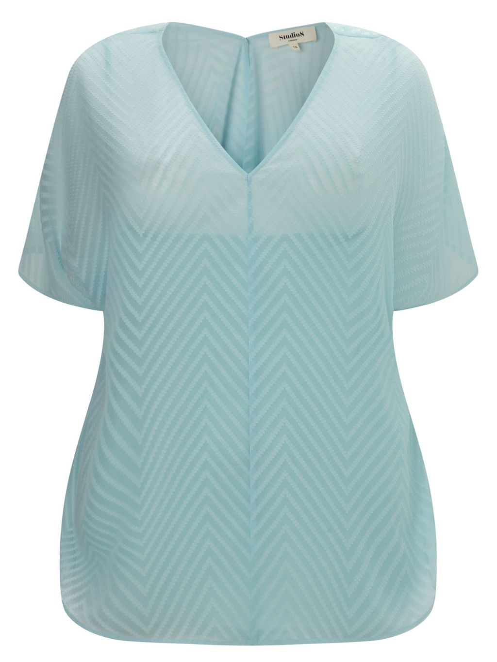 Harlow Top, Blue - neckline: v-neck; pattern: plain; predominant colour: pale blue; occasions: casual; length: standard; style: top; fibres: polyester/polyamide - 100%; fit: body skimming; sleeve length: short sleeve; sleeve style: standard; texture group: sheer fabrics/chiffon/organza etc.; pattern type: fabric; season: s/s 2016; wardrobe: highlight