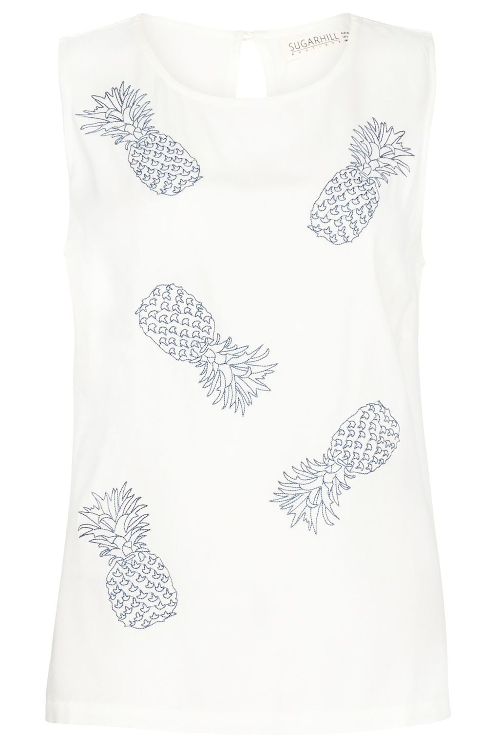Carly Pineapple Cutwork Top, Multi Coloured - neckline: round neck; sleeve style: sleeveless; predominant colour: ivory/cream; secondary colour: light grey; occasions: casual; length: standard; style: top; fibres: viscose/rayon - 100%; fit: body skimming; sleeve length: sleeveless; pattern type: fabric; pattern: patterned/print; texture group: jersey - stretchy/drapey; multicoloured: multicoloured; season: s/s 2016