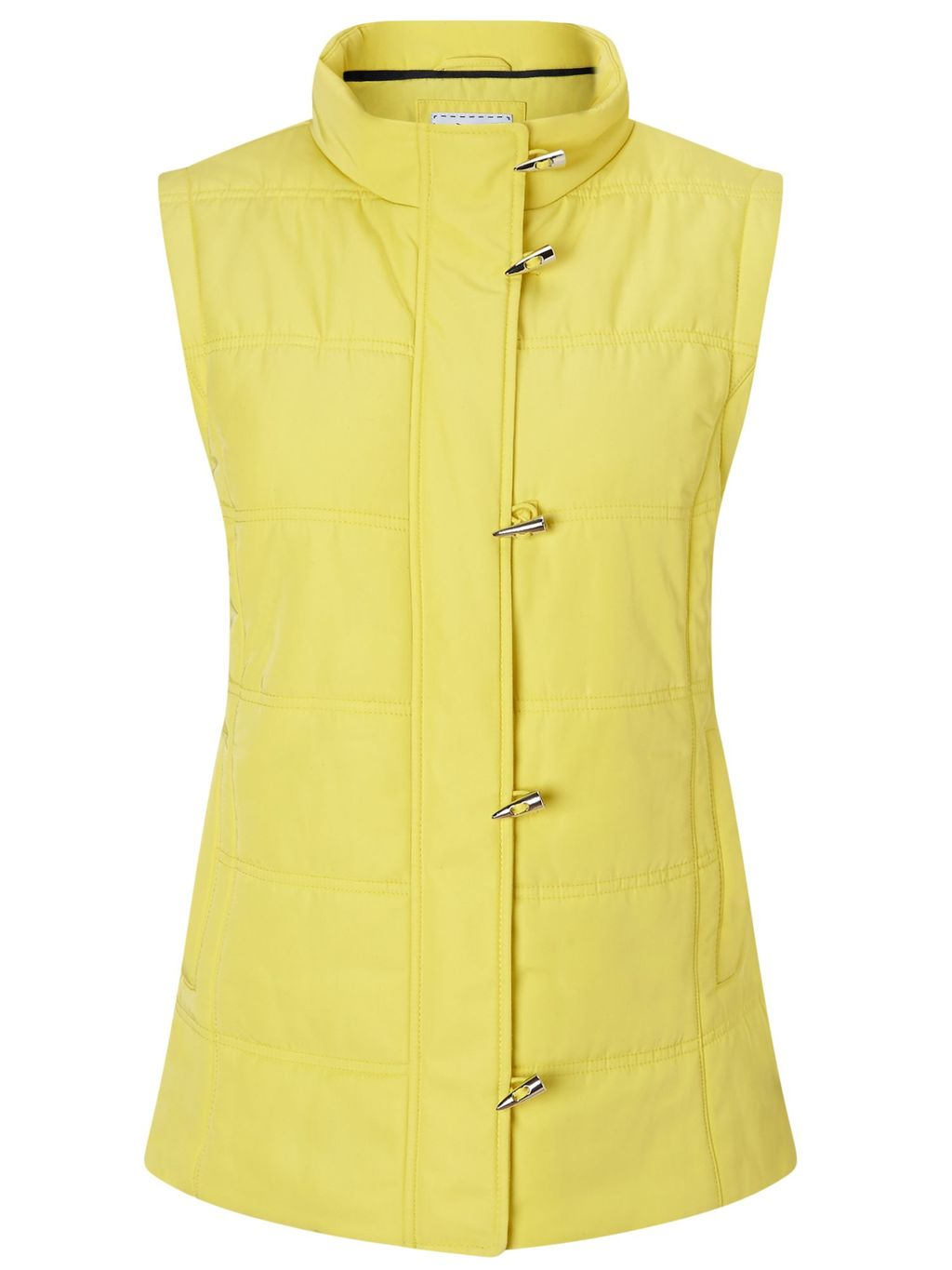 Lemon Toggle Gilet, Yellow - pattern: plain; sleeve style: sleeveless; style: gilet; collar: high neck; predominant colour: yellow; occasions: casual; length: standard; fit: straight cut (boxy); fibres: cotton - mix; sleeve length: sleeveless; texture group: cotton feel fabrics; collar break: high; pattern type: fabric; embellishment: quilted; season: s/s 2016