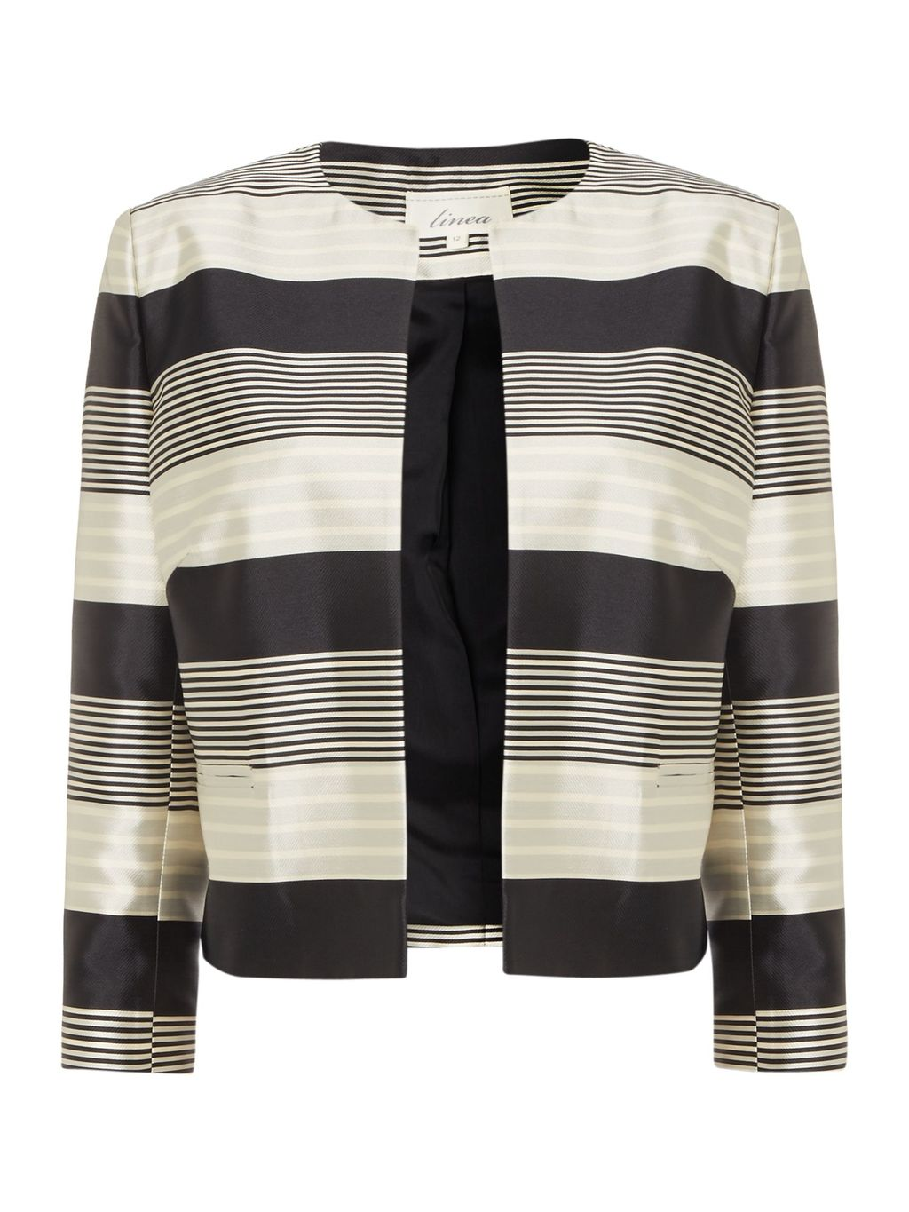 Monochrome Stripe Jacket, Multi Coloured - pattern: horizontal stripes; style: single breasted blazer; collar: round collar/collarless; predominant colour: ivory/cream; secondary colour: charcoal; length: standard; fit: straight cut (boxy); fibres: polyester/polyamide - mix; occasions: occasion; sleeve length: 3/4 length; sleeve style: standard; collar break: high; pattern type: fabric; pattern size: standard; texture group: woven light midweight; season: s/s 2016; wardrobe: event