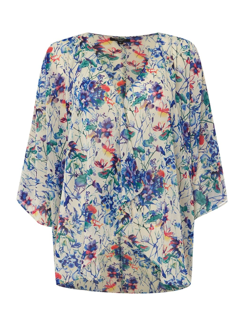 Faith Floral Print Longline Kimono, Multi Coloured - neckline: v-neck; predominant colour: ivory/cream; secondary colour: diva blue; occasions: casual; length: standard; style: top; fibres: polyester/polyamide - 100%; fit: body skimming; sleeve length: 3/4 length; sleeve style: standard; pattern type: fabric; pattern: florals; texture group: other - light to midweight; multicoloured: multicoloured; season: s/s 2016; wardrobe: highlight