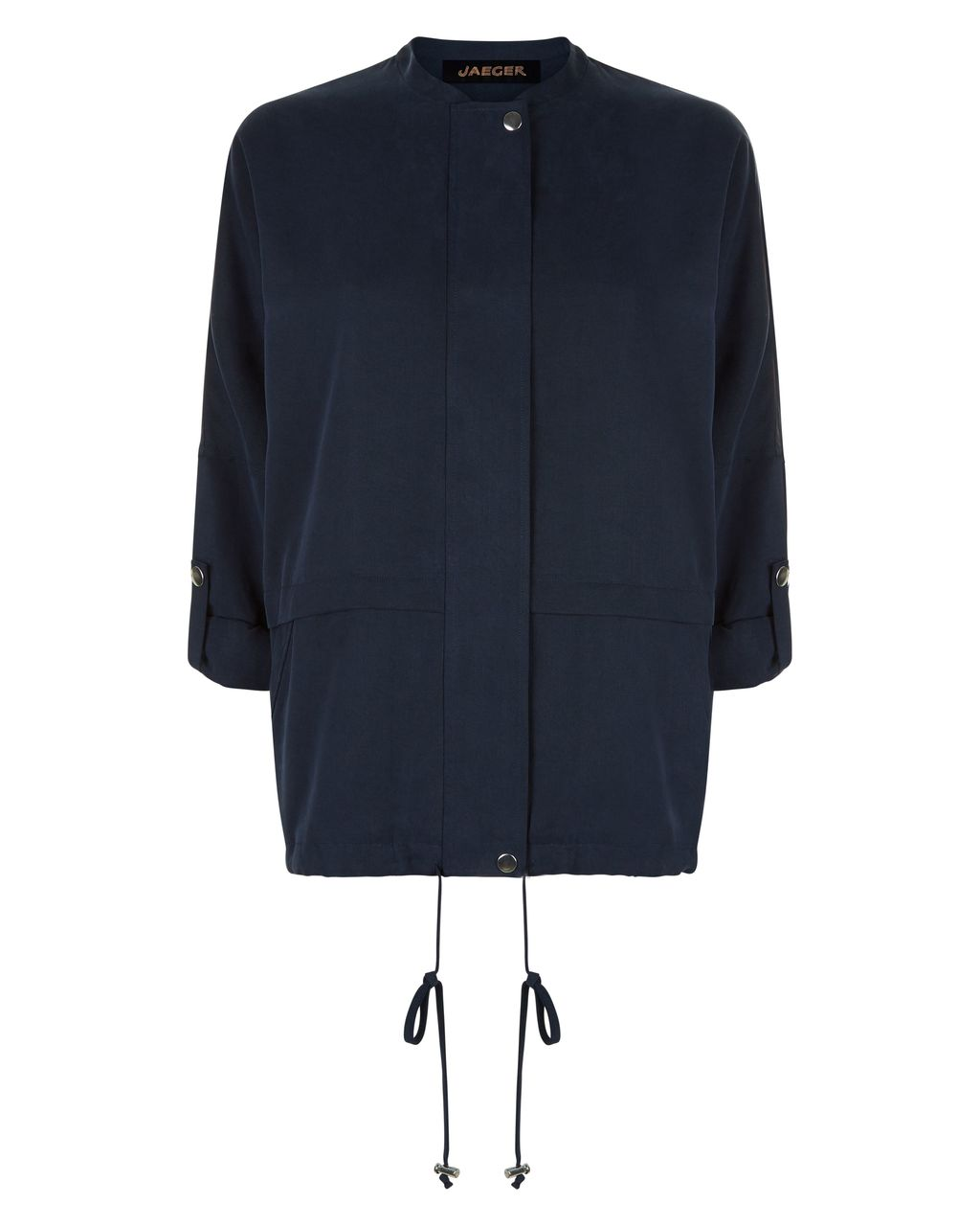 Slouchy Jacket, Navy - pattern: plain; style: single breasted blazer; length: below the bottom; collar: high neck; predominant colour: navy; occasions: casual; fit: straight cut (boxy); fibres: polyester/polyamide - 100%; sleeve length: long sleeve; sleeve style: standard; collar break: high; pattern type: fabric; texture group: other - light to midweight; season: s/s 2016; wardrobe: basic