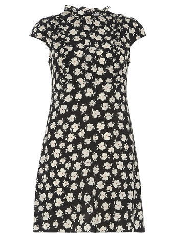 Womens Dorothy Perkins Petite Print Ruffle Dress, Black - style: shift; length: mid thigh; sleeve style: capped; neckline: high neck; secondary colour: white; predominant colour: black; occasions: casual; fit: body skimming; fibres: polyester/polyamide - stretch; sleeve length: short sleeve; pattern type: fabric; pattern size: standard; pattern: patterned/print; texture group: other - light to midweight; season: s/s 2016; wardrobe: highlight