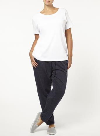 Womens Evans Navy Blue Marl Drawstring Joggers, Navy - length: standard; pattern: plain; style: tracksuit pants; waist detail: belted waist/tie at waist/drawstring; waist: mid/regular rise; predominant colour: navy; occasions: casual; fibres: cotton - mix; fit: baggy; pattern type: fabric; texture group: other - light to midweight; season: s/s 2016; wardrobe: basic