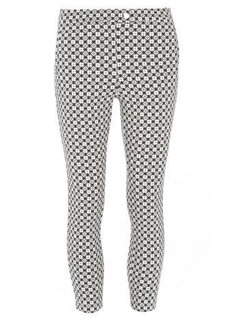 Womens Dorothy Perkins Petite Black And Ivory Trousers, Black - style: leggings; hip detail: draws attention to hips; waist: mid/regular rise; secondary colour: white; predominant colour: black; occasions: casual; length: calf length; texture group: jersey - clingy; fit: skinny/tight leg; pattern type: fabric; pattern: patterned/print; fibres: viscose/rayon - mix; pattern size: light/subtle (bottom); season: s/s 2016; wardrobe: highlight