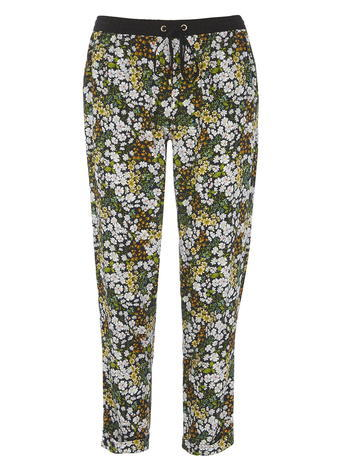 Womens Dorothy Perkins Petite Ditsy Floral Joggers, Green - length: standard; style: harem/slouch; waist detail: belted waist/tie at waist/drawstring; waist: mid/regular rise; secondary colour: white; predominant colour: khaki; occasions: casual; fibres: viscose/rayon - 100%; fit: slim leg; pattern type: fabric; pattern: florals; texture group: woven light midweight; multicoloured: multicoloured; season: s/s 2016