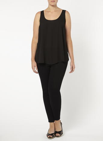 Womens Evans Black Scoop Camisole Top, Black - sleeve style: standard vest straps/shoulder straps; pattern: plain; style: camisole; predominant colour: black; occasions: casual; length: standard; neckline: scoop; fibres: polyester/polyamide - 100%; fit: body skimming; sleeve length: sleeveless; pattern type: fabric; texture group: jersey - stretchy/drapey; season: s/s 2016; wardrobe: basic