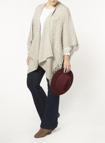 Womens Evans Grey Cable Tasle Hem Cardigan, Grey - sleeve style: dolman/batwing; pattern: plain; neckline: waterfall neck; style: open front; predominant colour: light grey; occasions: casual, creative work; length: standard; fibres: acrylic - 100%; fit: loose; hip detail: subtle/flattering hip detail; sleeve length: half sleeve; texture group: knits/crochet; pattern type: knitted - fine stitch; season: s/s 2016; wardrobe: basic