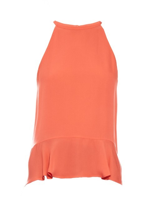 Lizzy Top - pattern: plain; sleeve style: sleeveless; predominant colour: bright orange; occasions: casual; length: standard; style: top; fibres: silk - 100%; fit: body skimming; neckline: crew; hip detail: adds bulk at the hips; sleeve length: sleeveless; texture group: crepes; pattern type: fabric; season: s/s 2016; wardrobe: highlight