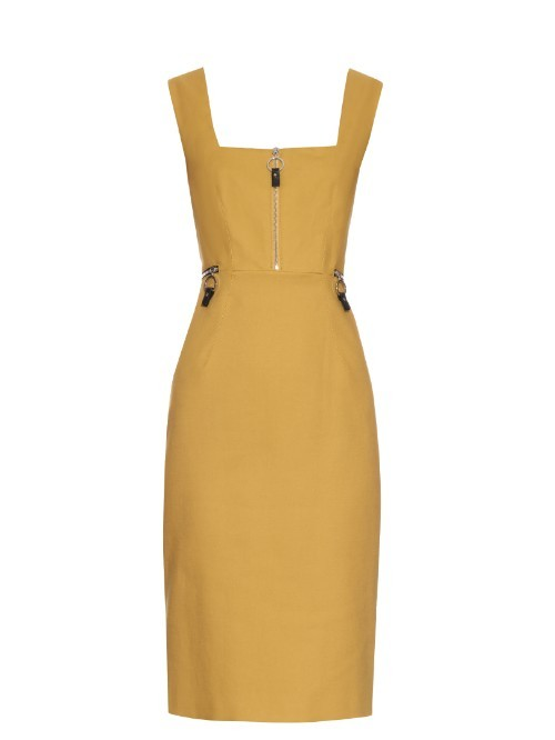 Selce Dress - fit: tailored/fitted; pattern: plain; sleeve style: sleeveless; style: dungaree dress/pinafore; hip detail: fitted at hip; bust detail: buttons at bust (in middle at breastbone)/zip detail at bust; predominant colour: mustard; length: on the knee; fibres: cotton - 100%; sleeve length: sleeveless; texture group: cotton feel fabrics; neckline: low square neck; pattern type: fabric; occasions: creative work; season: s/s 2016
