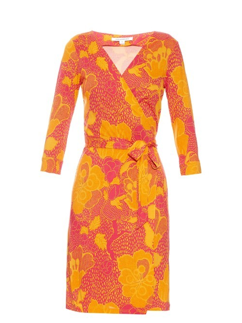 New Julian Two Dress - style: faux wrap/wrap; neckline: v-neck; waist detail: belted waist/tie at waist/drawstring; secondary colour: mustard; predominant colour: coral; occasions: evening; length: just above the knee; fit: body skimming; fibres: silk - 100%; sleeve length: 3/4 length; sleeve style: standard; pattern type: fabric; pattern: florals; texture group: jersey - stretchy/drapey; multicoloured: multicoloured; season: s/s 2016