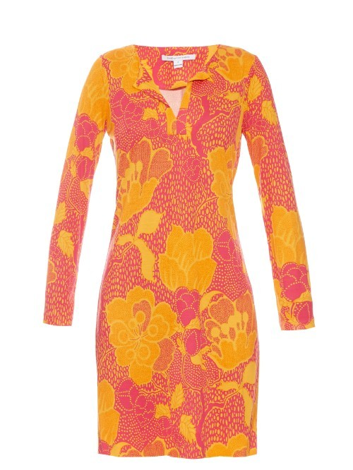 Reina Dress - style: faux wrap/wrap; length: mid thigh; neckline: v-neck; predominant colour: pink; secondary colour: yellow; occasions: evening; fit: body skimming; fibres: silk - 100%; sleeve length: long sleeve; sleeve style: standard; pattern type: fabric; pattern: florals; texture group: jersey - stretchy/drapey; multicoloured: multicoloured; season: s/s 2016; wardrobe: event