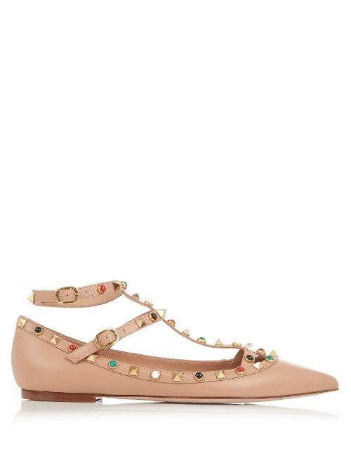 Rolling Rockstud Leather Flats - predominant colour: nude; occasions: casual, creative work; material: faux leather; heel height: flat; ankle detail: ankle strap; toe: pointed toe; style: ballerinas / pumps; finish: plain; pattern: plain; season: s/s 2016; wardrobe: basic