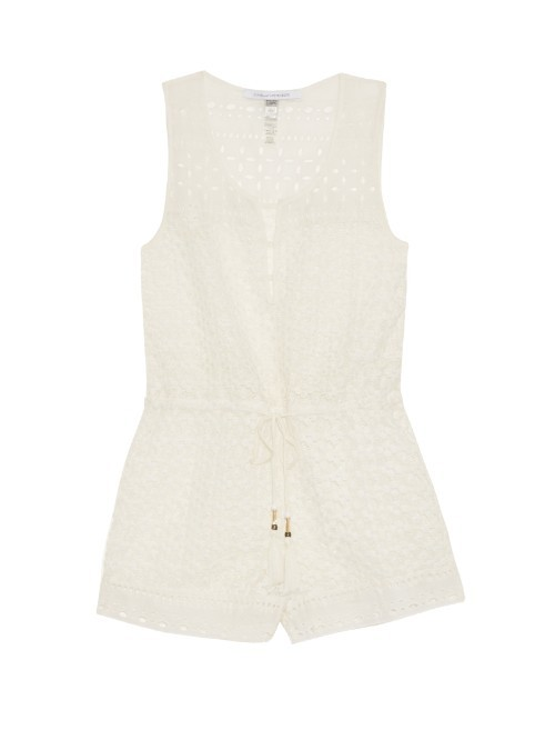 Hamptons Playsuit - neckline: round neck; fit: tailored/fitted; sleeve style: sleeveless; waist detail: belted waist/tie at waist/drawstring; length: short shorts; predominant colour: white; occasions: casual, holiday; fibres: cotton - mix; sleeve length: sleeveless; texture group: cotton feel fabrics; style: playsuit; pattern type: fabric; pattern size: light/subtle; pattern: patterned/print; season: s/s 2016