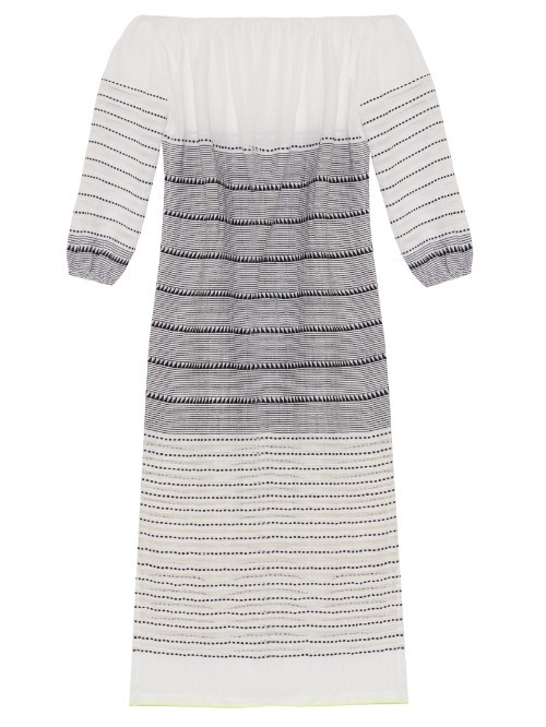 Almaz Striped Off The Shoulder Dress - neckline: off the shoulder; pattern: horizontal stripes; style: sundress; predominant colour: white; secondary colour: mid grey; occasions: casual; length: on the knee; fit: body skimming; fibres: cotton - 100%; sleeve length: 3/4 length; sleeve style: standard; pattern type: fabric; texture group: jersey - stretchy/drapey; multicoloured: multicoloured; season: s/s 2016