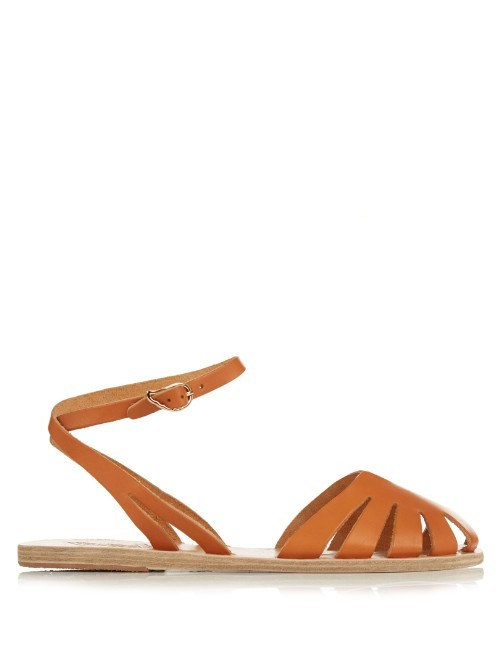 Aella Cut Out Leather Sandals - predominant colour: tan; occasions: casual; material: leather; heel height: flat; ankle detail: ankle strap; heel: standard; style: standard; finish: plain; pattern: plain; toe: caged; season: s/s 2016; wardrobe: highlight