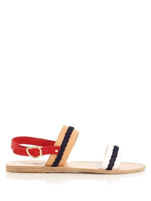 Amphipolis Leather Sandals - secondary colour: true red; predominant colour: navy; occasions: casual, creative work; material: leather; heel height: flat; heel: standard; toe: open toe/peeptoe; style: standard; finish: plain; pattern: colourblock; multicoloured: multicoloured; season: s/s 2016; wardrobe: highlight