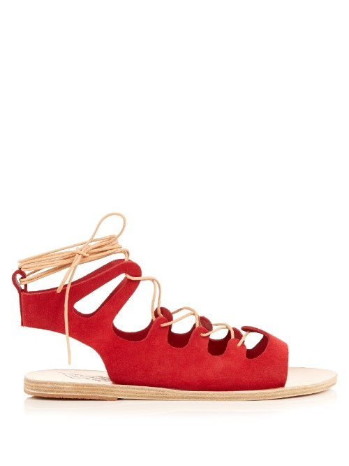 Antigone Suede Lace Up Sandals - predominant colour: true red; secondary colour: camel; occasions: casual, creative work; material: suede; heel height: flat; ankle detail: ankle tie; heel: standard; toe: open toe/peeptoe; style: gladiators; finish: plain; pattern: plain; season: s/s 2016; wardrobe: highlight