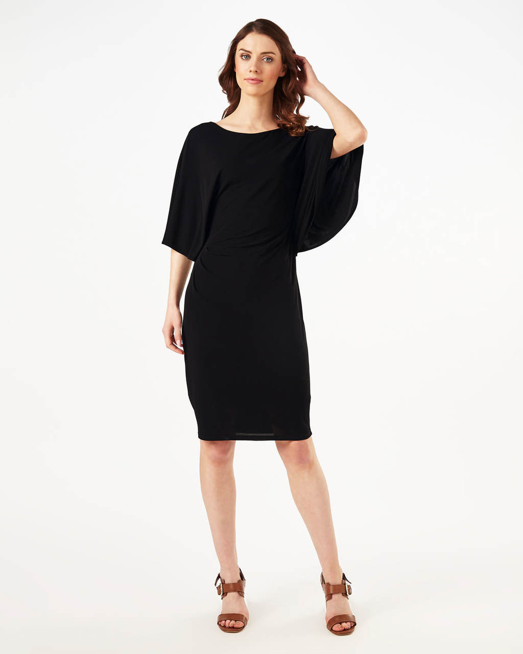 Caley Cape Dress - style: shift; pattern: plain; predominant colour: black; occasions: evening; length: on the knee; fit: body skimming; fibres: viscose/rayon - 100%; sleeve style: cape sleeve; neckline: crew; sleeve length: 3/4 length; pattern type: fabric; texture group: jersey - stretchy/drapey; season: s/s 2016; wardrobe: event