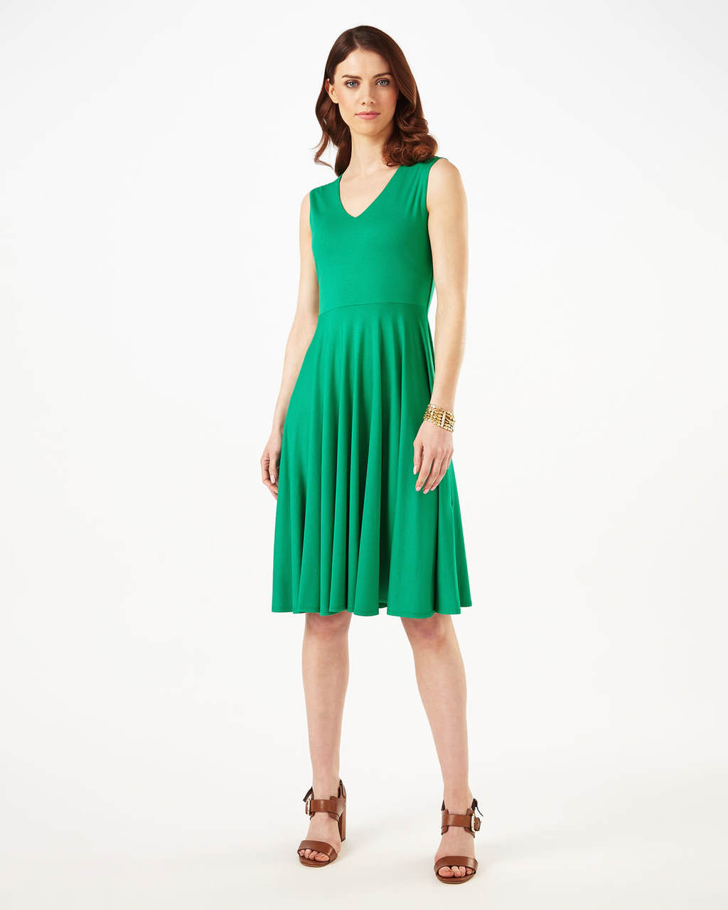 Abby Dress - neckline: v-neck; pattern: plain; sleeve style: sleeveless; predominant colour: emerald green; occasions: evening; length: on the knee; fit: fitted at waist & bust; style: fit & flare; fibres: polyester/polyamide - stretch; sleeve length: sleeveless; pattern type: fabric; texture group: jersey - stretchy/drapey; season: s/s 2016; wardrobe: event