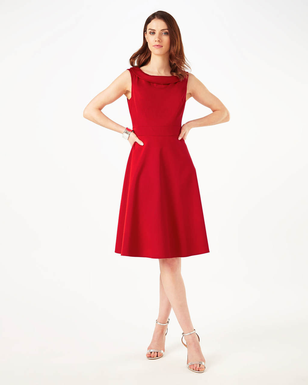 Nicole Dress - pattern: plain; sleeve style: sleeveless; predominant colour: true red; occasions: evening; length: on the knee; fit: fitted at waist & bust; style: fit & flare; fibres: viscose/rayon - stretch; neckline: crew; sleeve length: sleeveless; pattern type: fabric; texture group: jersey - stretchy/drapey; season: s/s 2016; wardrobe: event