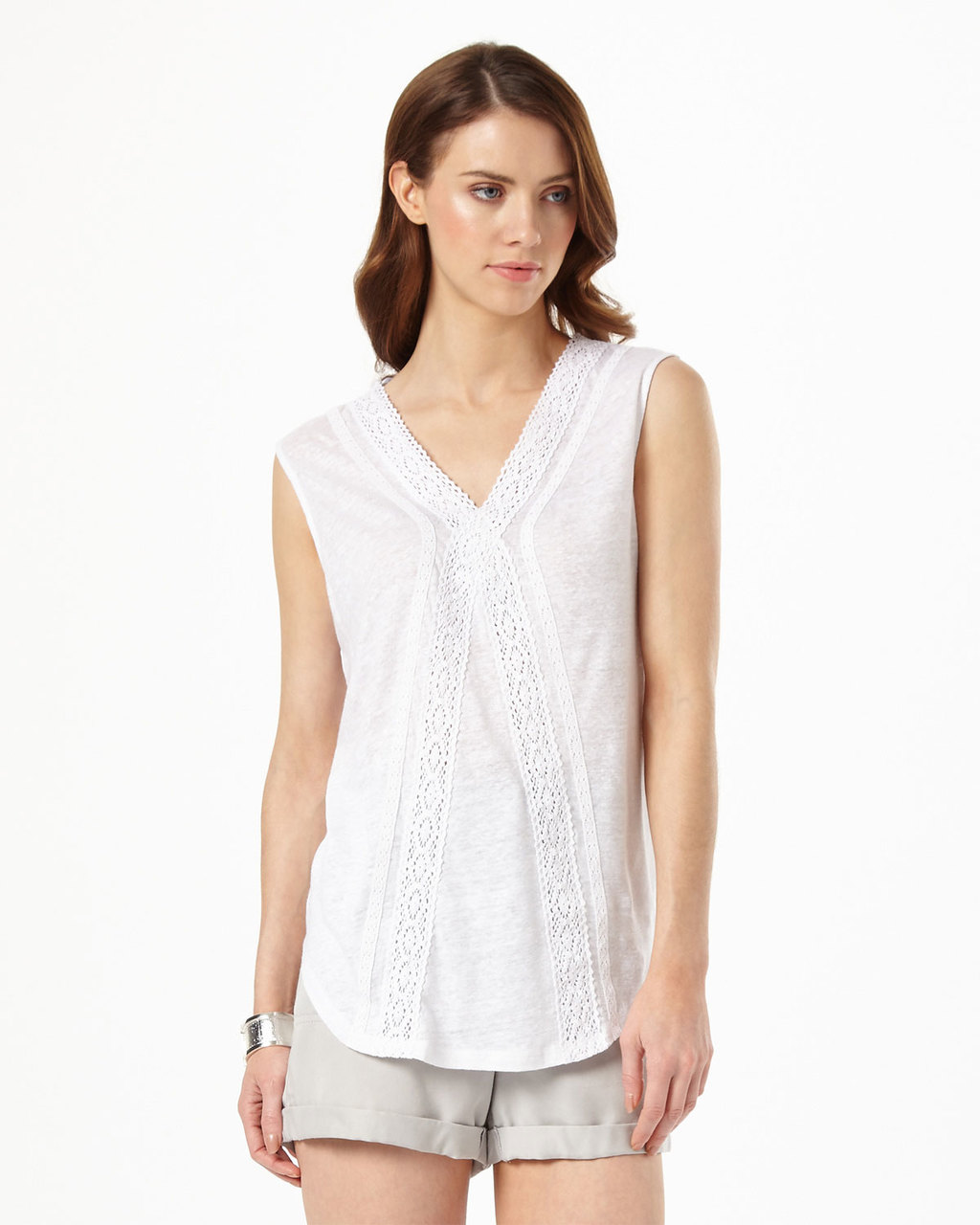 Bobbi Crochet Top - neckline: v-neck; pattern: plain; sleeve style: sleeveless; style: vest top; predominant colour: white; occasions: casual; length: standard; fibres: linen - mix; fit: body skimming; sleeve length: sleeveless; texture group: cotton feel fabrics; pattern type: fabric; embellishment: lace; season: s/s 2016; wardrobe: highlight