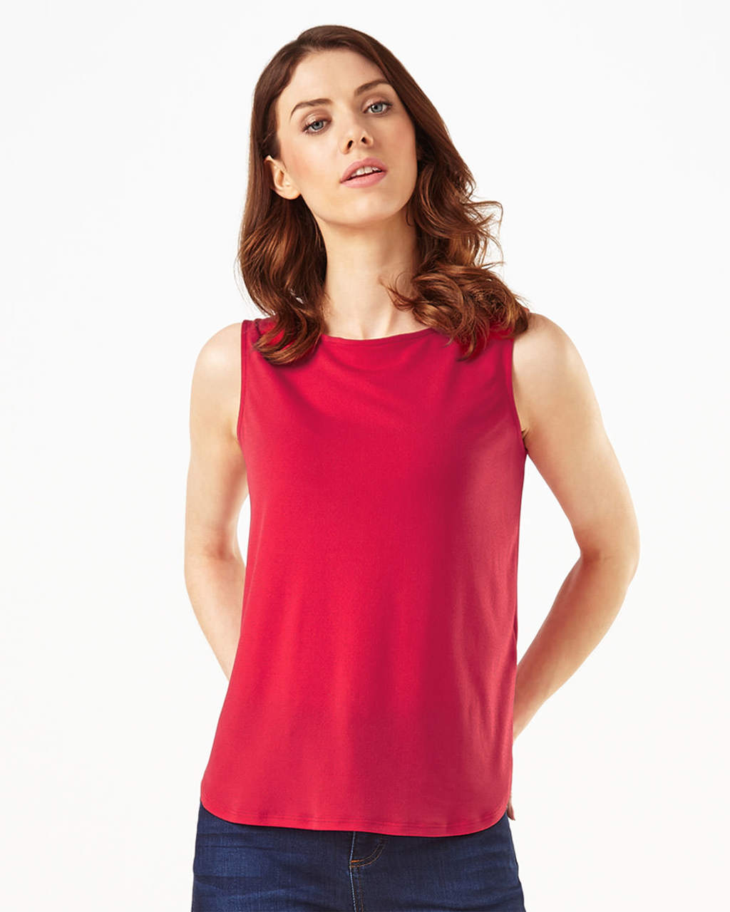 Charlotte Crepe Vest - pattern: plain; sleeve style: sleeveless; style: vest top; predominant colour: true red; occasions: casual; length: standard; fibres: polyester/polyamide - stretch; fit: body skimming; neckline: crew; sleeve length: sleeveless; texture group: crepes; pattern type: fabric; season: s/s 2016; wardrobe: highlight