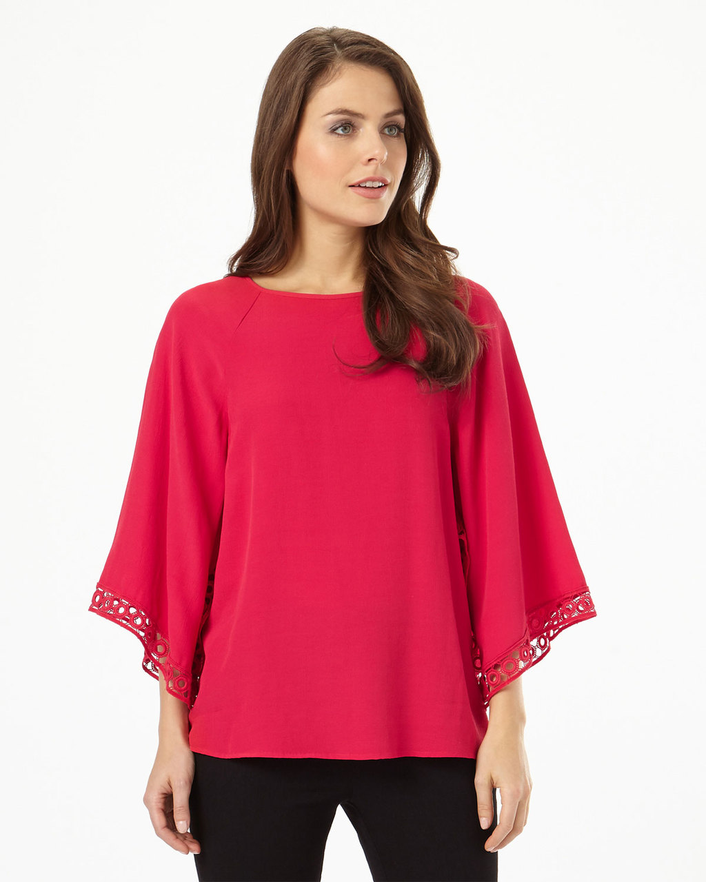 Hena Crochet Sleeve Top - neckline: round neck; pattern: plain; sleeve style: kimono; predominant colour: true red; occasions: casual, evening, creative work; length: standard; style: top; fibres: cotton - mix; fit: loose; sleeve length: 3/4 length; texture group: sheer fabrics/chiffon/organza etc.; pattern type: fabric; season: s/s 2016; wardrobe: highlight