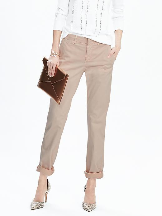 Straight Fit Chino Pink Blush - pattern: plain; waist: mid/regular rise; predominant colour: stone; occasions: casual, holiday, creative work; length: ankle length; style: chino; fibres: cotton - stretch; texture group: cotton feel fabrics; fit: slim leg; pattern type: fabric; season: s/s 2016; wardrobe: basic
