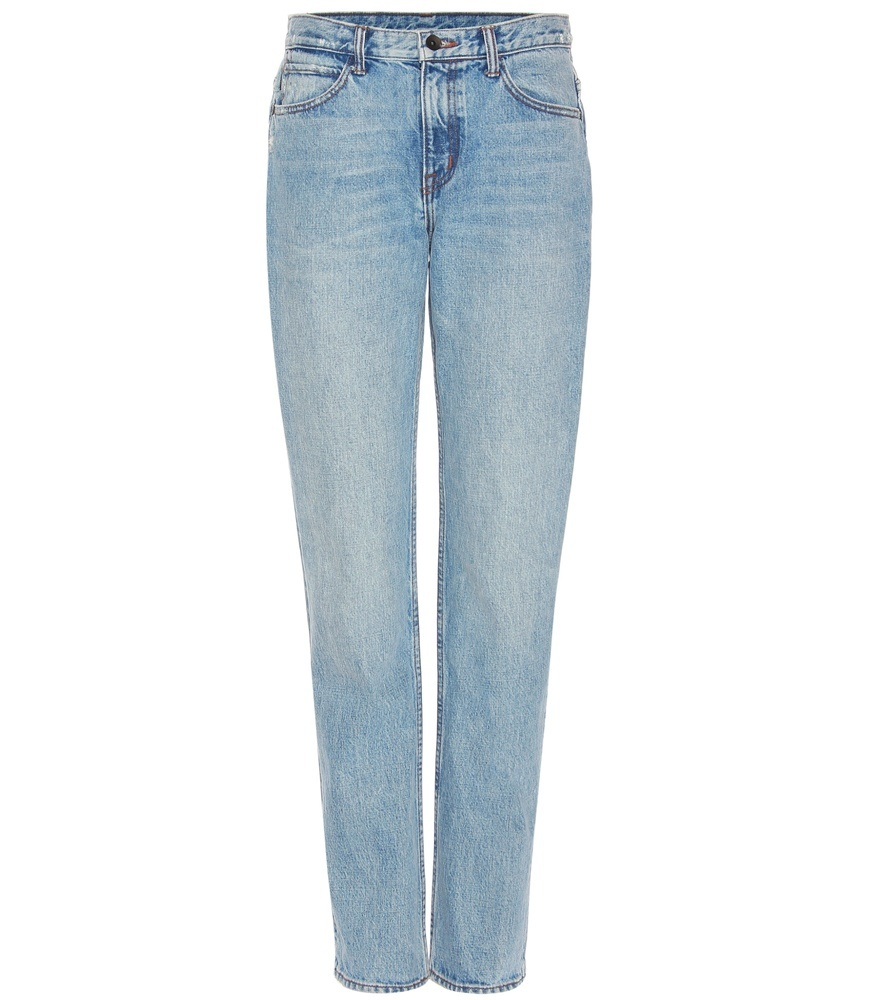 Light Worn Boyfriend Jeans - style: boyfriend; length: standard; pattern: plain; waist: high rise; pocket detail: traditional 5 pocket; predominant colour: denim; occasions: casual; fibres: cotton - 100%; jeans detail: shading down centre of thigh, washed/faded; texture group: denim; pattern type: fabric; season: s/s 2016; wardrobe: basic