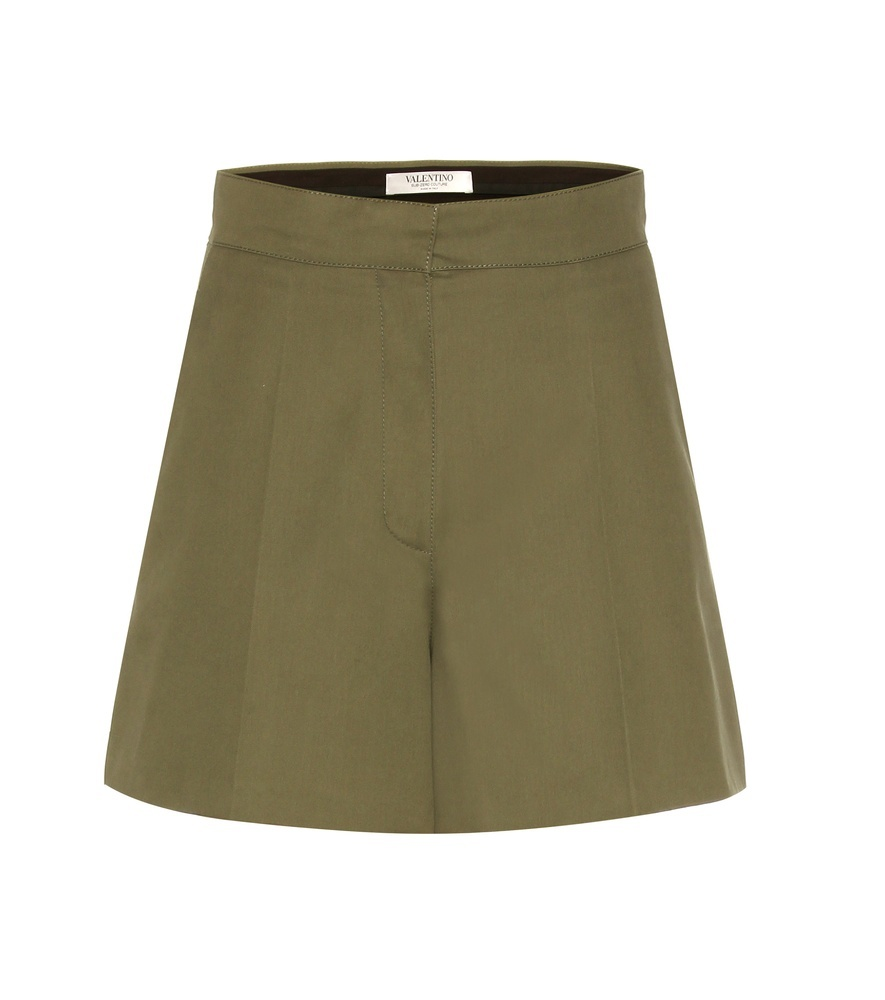 Cotton Shorts - pattern: plain; waist: high rise; predominant colour: khaki; occasions: casual, creative work; fibres: cotton - 100%; texture group: cotton feel fabrics; pattern type: fabric; season: s/s 2016; wardrobe: basic; style: shorts; length: mid thigh shorts