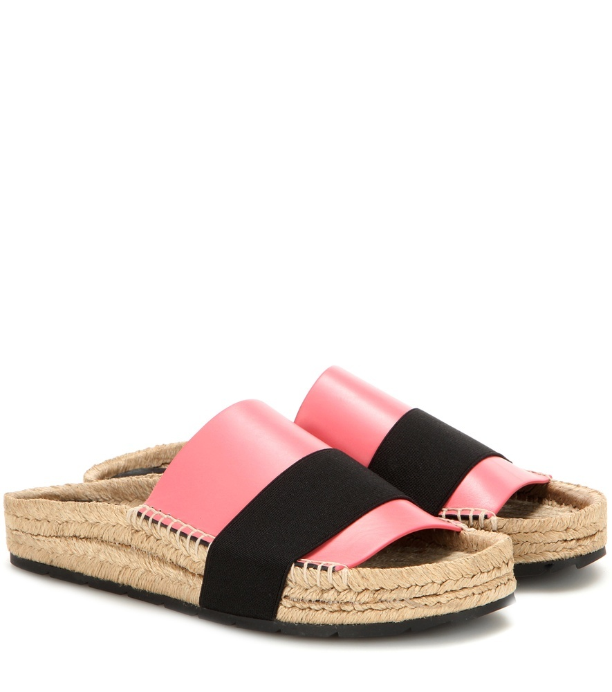 Leather Slides - predominant colour: coral; secondary colour: black; occasions: casual, holiday; material: leather; heel height: flat; heel: standard; toe: open toe/peeptoe; style: slides; finish: plain; pattern: colourblock; season: s/s 2016; wardrobe: highlight