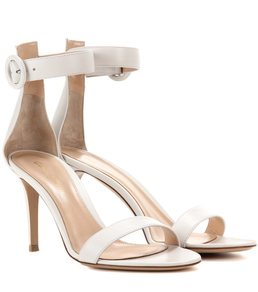 Portofino Leather Sandals - predominant colour: white; occasions: evening, occasion; material: leather; heel height: high; ankle detail: ankle strap; heel: stiletto; toe: open toe/peeptoe; style: strappy; finish: plain; pattern: plain; season: s/s 2016; wardrobe: event