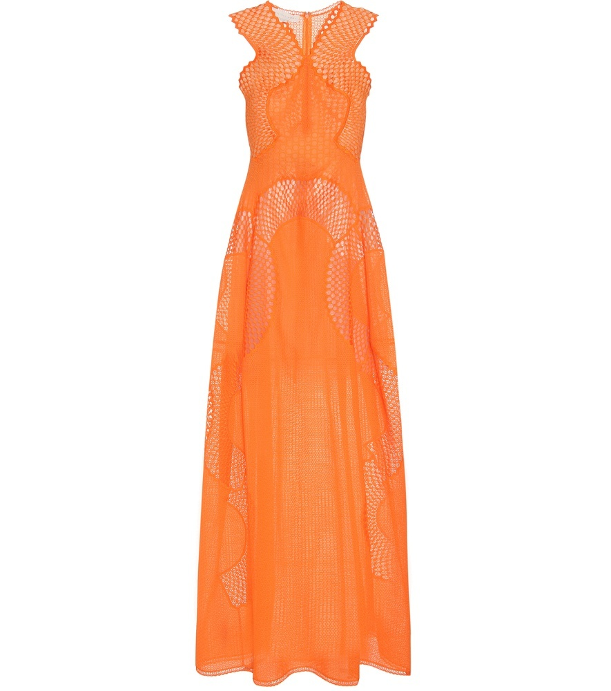 Cotton Blend Maxi Dress - neckline: v-neck; pattern: plain; sleeve style: sleeveless; style: maxi dress; predominant colour: bright orange; occasions: evening; length: floor length; fit: body skimming; fibres: cotton - mix; sleeve length: sleeveless; texture group: sheer fabrics/chiffon/organza etc.; pattern type: fabric; season: s/s 2016; wardrobe: event