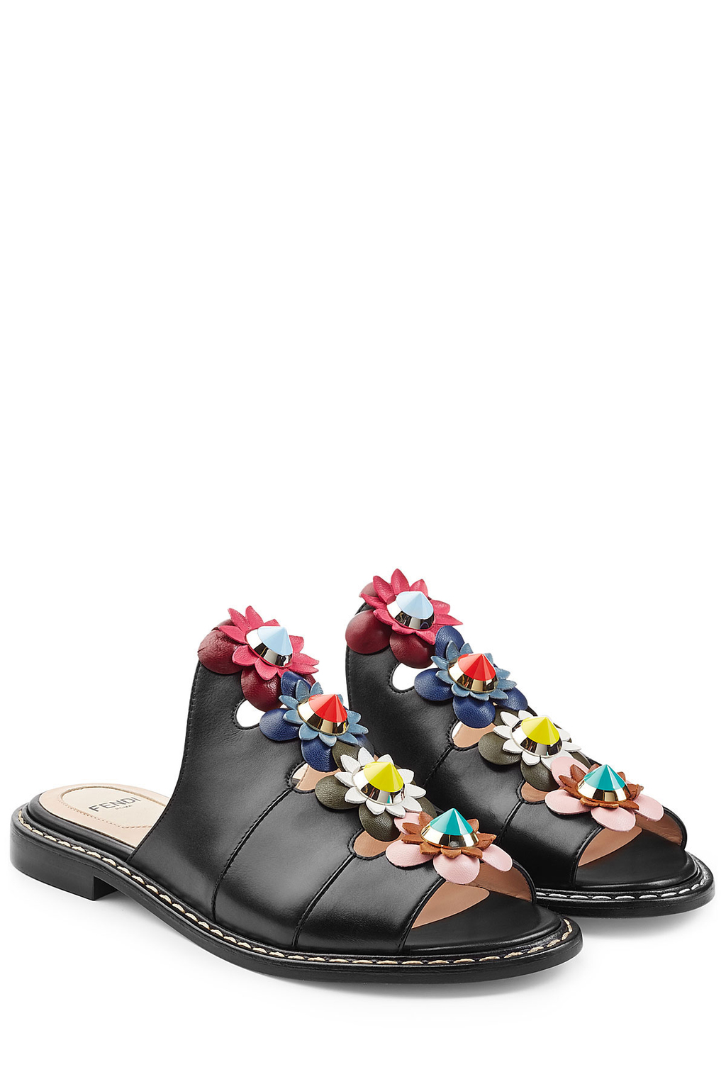 Leather Sandals With Floral Applique - predominant colour: black; occasions: casual, holiday; material: leather; heel height: flat; heel: standard; toe: open toe/peeptoe; style: slides; finish: plain; pattern: plain; embellishment: applique; multicoloured: multicoloured; season: s/s 2016; wardrobe: highlight