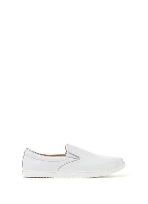 White Alice Leather Slip On Plimsoll - predominant colour: white; occasions: casual; material: leather; heel height: flat; embellishment: elasticated; toe: round toe; finish: plain; pattern: plain; shoe detail: moulded soul; style: skate shoes; season: s/s 2016; wardrobe: highlight