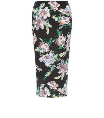 Black Floral Print Midi Skirt - length: below the knee; style: pencil; fit: tailored/fitted; waist detail: elasticated waist; waist: mid/regular rise; secondary colour: emerald green; predominant colour: black; fibres: polyester/polyamide - stretch; occasions: occasion, creative work; texture group: jersey - clingy; pattern type: fabric; pattern: florals; pattern size: big & busy (bottom); multicoloured: multicoloured; season: s/s 2016; wardrobe: highlight