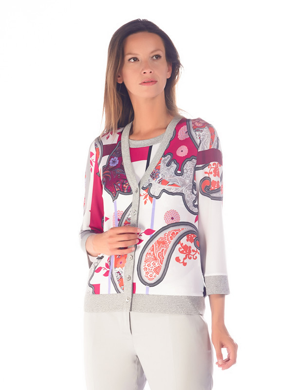 Domina Printed Jersey Cardigan - neckline: v-neck; pattern: paisley; secondary colour: white; predominant colour: pink; occasions: casual, creative work; length: standard; style: standard; fibres: viscose/rayon - stretch; fit: slim fit; sleeve length: 3/4 length; sleeve style: standard; texture group: knits/crochet; pattern type: knitted - fine stitch; pattern size: big & busy (top); multicoloured: multicoloured; season: s/s 2016; wardrobe: highlight
