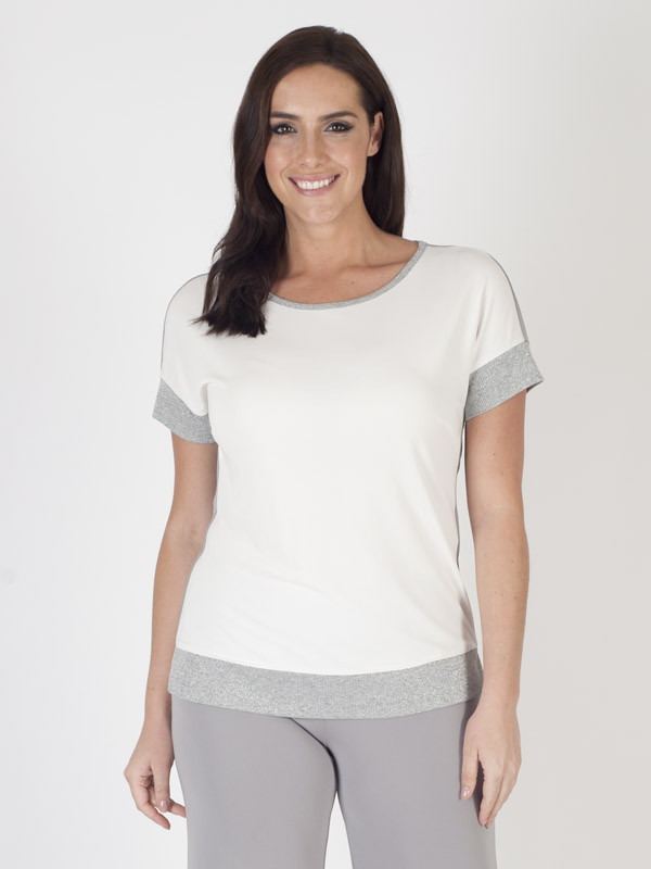 Domina Silky Jersey Top - neckline: round neck; pattern: plain; predominant colour: white; secondary colour: light grey; occasions: casual, work, creative work; length: standard; style: top; fibres: silk - 100%; fit: body skimming; sleeve length: short sleeve; sleeve style: standard; pattern type: fabric; texture group: jersey - stretchy/drapey; season: s/s 2016; wardrobe: basic