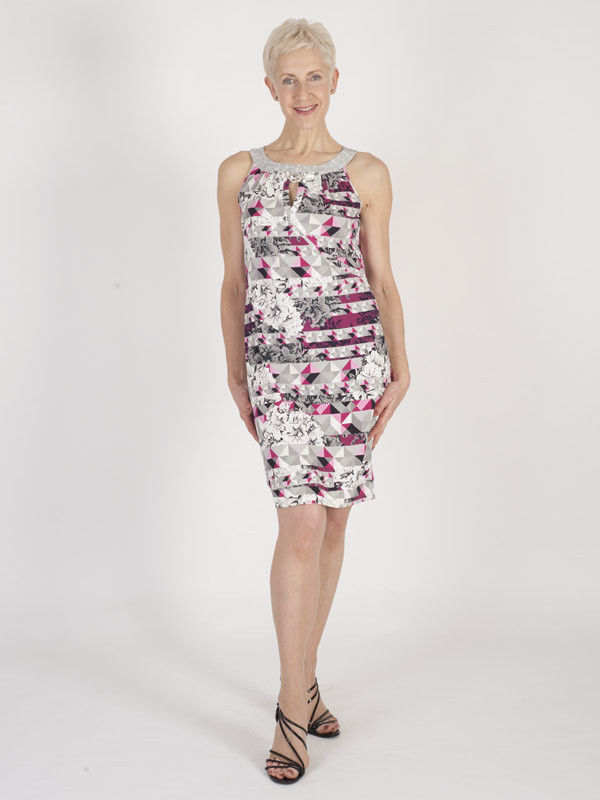 Domina Printed Jersey Dress - fit: tight; sleeve style: sleeveless; style: bodycon; secondary colour: hot pink; predominant colour: light grey; occasions: evening; length: just above the knee; fibres: viscose/rayon - stretch; neckline: crew; sleeve length: sleeveless; texture group: jersey - clingy; pattern type: fabric; pattern: florals; multicoloured: multicoloured; season: s/s 2016; wardrobe: event