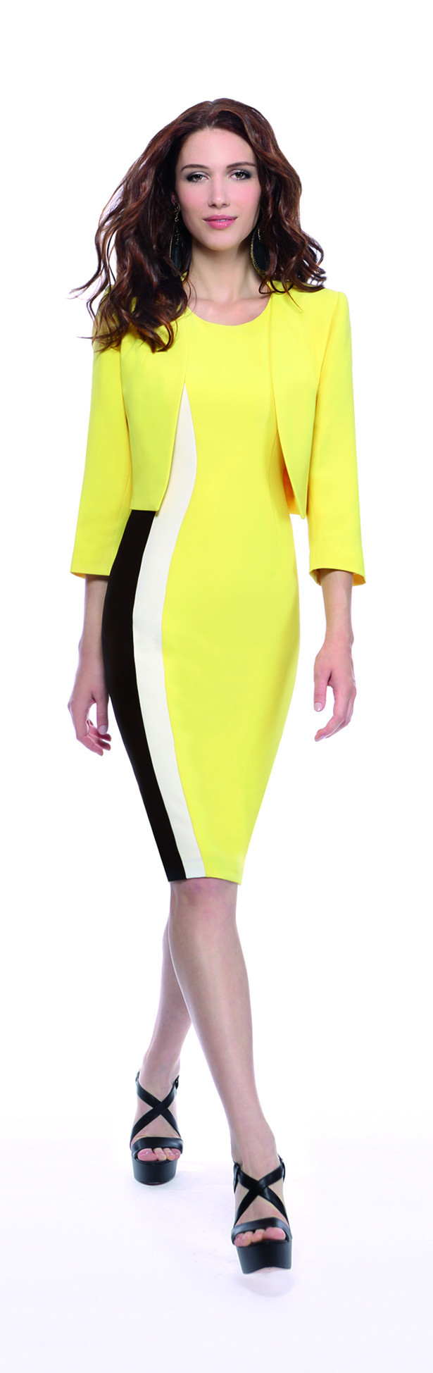 Michaela Louisa Lemon Bolero Jacket - collar: round collar/collarless; style: boxy; predominant colour: yellow; fit: straight cut (boxy); fibres: polyester/polyamide - 100%; occasions: occasion; sleeve length: 3/4 length; sleeve style: standard; texture group: crepes; collar break: low/open; pattern type: fabric; pattern: colourblock; length: cropped; season: s/s 2016; wardrobe: event