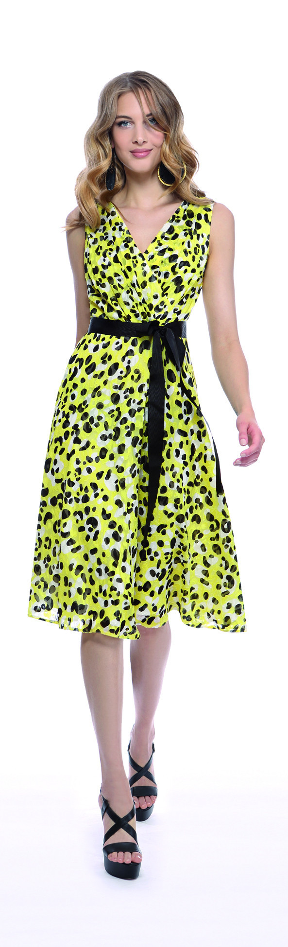 Michaela Louisa Lemon And Black Spot Print Dress - length: below the knee; neckline: v-neck; sleeve style: sleeveless; style: prom dress; waist detail: belted waist/tie at waist/drawstring; predominant colour: lime; secondary colour: black; occasions: evening; fit: fitted at waist & bust; fibres: polyester/polyamide - 100%; sleeve length: sleeveless; pattern type: fabric; pattern: patterned/print; texture group: other - light to midweight; season: s/s 2016